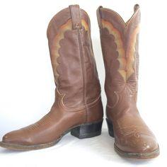 c0c49b5a5eb Tony Lama Mens Western Cowboy Boots Genuine Brown Leather 9.5 D Mexico   TonyLama  CowboyWestern