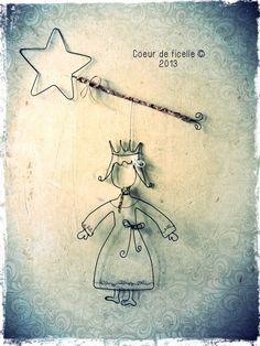 Petite princesse et sa baguette magique en fil de fer
