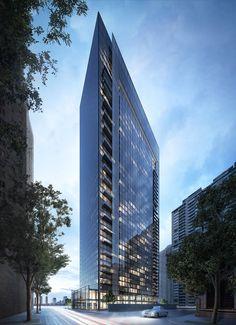 Richard Meier diseña rascacielos residencial en vidrio negro en Nueva York,© bloomimages