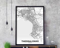 THESSALONIKI Black & white print of a beatiful greek city map. Available in switched colors as well. Frame not included - you will get the print only. We have over 2000 cities worldwide mapped and ready to print. Ask us for your custom city map. > HOW ITS PRINTED Shortly - the
