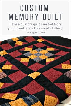 I understand how personal a memory quilt is, so I take great care in constructing a one of a kind piece that honors the treasured clothing you've entrusted to me. Beginner Quilt Patterns, Quilting For Beginners, Quilting Tutorials, Quilting Projects, Quilting Tips, Quilting Patterns, Shabby Chic Quilts, Girl Scout Crafts, Machine Quilting Designs
