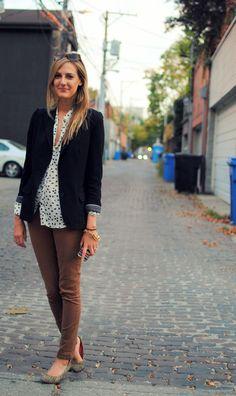 Outfit Idea #4: black blazer, polka dot top, rust corduroys, grey heels via See Jane Wear