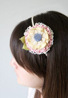 Country Girl Floral Headband Rustic Hair Flower by rosyposydesigns