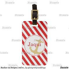 Anchor on Stripes | red white Bag Tag