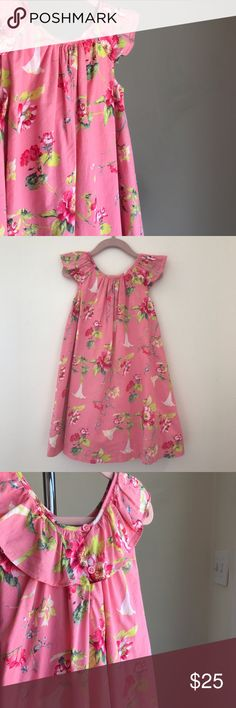 Baby GAP Pretty in Pink Floral Dress Baby GAP Pink Floral Dress. Ruffle capped sleeves. Button closure at back. Fully lined. 100% Cotton. Excellent condition. GAP Dresses