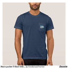 Men's pocket T-Shirt with Bluewave Graphic
