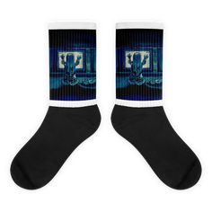 These socks are extra comfortable thanks to their cushioned bottom. The foot is black with artwork printed along the leg with crisp, bold colors that won't fade. Awesome Socks, Cool Socks, Ghost Movies, Us Man, Artwork Prints, Bold Colors, Legs, Black, Women