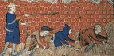 """A reeve oversees a group of serfs as they harvest wheat with reaping-hooks. Miniature by the """"Queen Mary Master"""" , ca. from a medieval Psalter, known as """"Queen Mary's Psalter"""". Medieval Life, Medieval Art, Medieval Clothing, English Knights, Feudal System, Medieval Peasant, Early Middle Ages, Les Religions, Black Death"""
