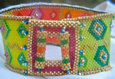 Delica Beaded Multi Colored Transparent Cuff Bracelet by LKBeading