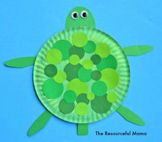 This turtle craft is a great craft for kids whether you studying the letter T, turtles, circles, the color green, or just looking for a fun craft.
