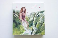£150 Giantess - fantasy painting surreal wall art
