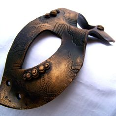 Unisex Masquerade Mask: Gothic Gold and Black Polymer Clay Venetian Mask MADE TO ORDER