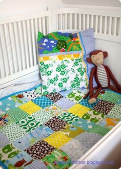 Scandi print quilt - great idea for out grown baby clothes.