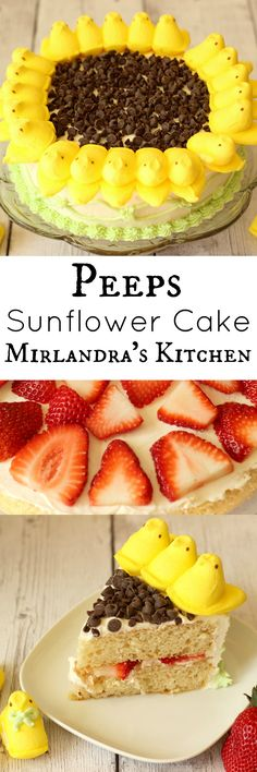 Simple instructions walk you through making a Peeps Sunflower Cake with citrus scented vanilla buttercream frosting and fresh strawberry filling.  The decorating process takes about 30 minutes if you make the frosting pattern on the side.  This is a fun springtime cake.