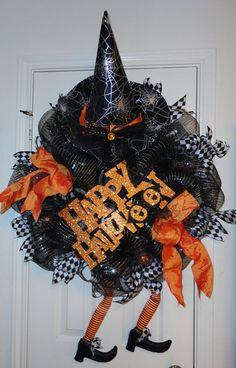 Crazy Legs D Witch Halloween Deco Mesh Wreath by RamonaReindeer, $65.00