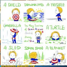 The many functions of Captain America's Shield- this is waaaay to adorable awww