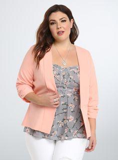 Plus Size Ruched Sleeve Blazer