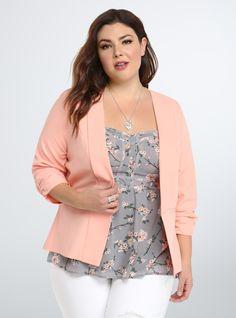 Plus Size Ruched Sleeve Blazer
