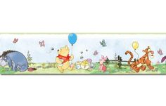Disney Winnie The Pooh Peel & Stick Wall Border. Bring the fun and adventure of Winnie the Pooh and all his friends to any room with this adorable peel & stick border. Removable, reusable, and repositionable, this border is easy to apply or move around as Baby Wall Stickers, Bedroom Stickers, Disney Wall Decals, Nursery Wall Decals, Wall Mural, Winnie The Pooh Friends, Disney Winnie The Pooh, Baby Disney, Mickey Mouse Classic Cartoons