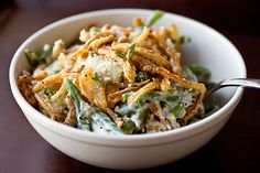 Savory French Green Bean Cassorole with Parmesan-Mushroom Sauce and Seasoned Crispy Fried Onions- made from scratch, no cans!