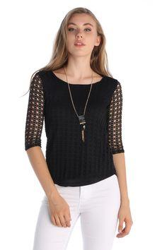 Kolye Aksesuarlı Dantel Bluz Siyah   Rays Giyim