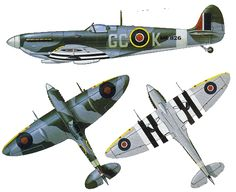 Vickers Supermarine Spitfire Mk IXb, MK826, flown by Wing Commander George Keefer from No. 412 Squadron's base at Beny-sur-Mer, Douvres, France in July 1944.  Illustration by Michael Roffe