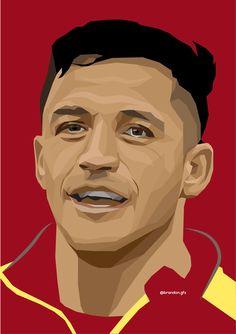 Alexis Soccer Art, Football Art, Soccer Drawing, Alexis Sanchez, Arsenal Fc, Manchester United, Real Madrid, Caricature, Illustration Art
