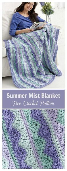 Knitting and Crochet Patterns - Summer Mist Blanket Free Crochet PatternSummer Mist Blanket Free Crochet Pattern I'm not crazy about the colors, but the pattern is very pretty.Crocheting is such a wonderfulNo matter the season, keep a ray of warmth w Crochet Afghans, Motifs Afghans, Crochet Motifs, Crochet Stitches, Crochet Baby, Blanket Crochet, Crochet Summer, Crochet Throws, Crochet Quilt