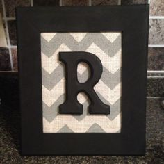 Chevron burlap framed monogram letter home decor