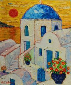 ARTFINDER: SANTORINI SUNSET by ANA MARIA EDULESCU - Original palette knife oil painting on stretched canvas, 50 x 60 x 2.50 cm ( 20'' x 24'' x 1'' inches ). Santorini , one of the most beautiful islands in ...