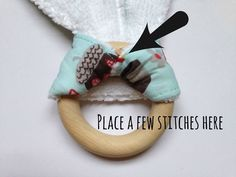 Free Wooden Teething Ring Tutorial — Willow and Stitch Baby Sewing Projects, Sewing For Kids, Wooden Teething Ring, Diy Teething Rings, Diy Bebe, Ring Tutorial, Burp Cloth Set, Teething Toys, Baby Teething