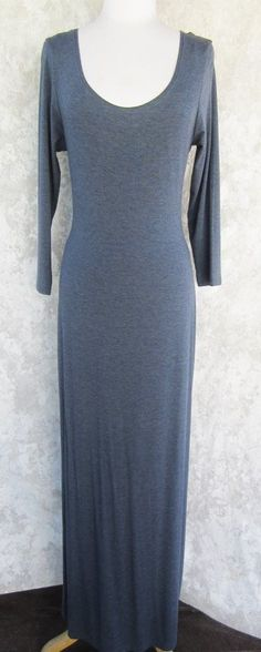 WILLI SMITH Dress LARGE Heather Blue/Gray NEW Scoop Front and Back Maxi #WilliSmith #MaxiWigglePencil #Casual