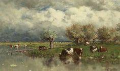 Willem Roelofs Amsterdam 1822-1897 Berchem (België) Waterlandschap met wadende koeien, olie op doek 24,2 x 38,9 cm., gesigneerd r.o.