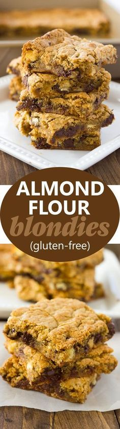 Tastes just like original-Almond Flour Blondies Chewy, gooey, and filled with delicious morsels of chocolate, white chocolate, and pecans! Brownie Sans Gluten, Cookies Sans Gluten, Dessert Sans Gluten, Gluten Free Brownies, Gluten Free Sweets, Paleo Dessert, Gluten Free Bars, Keto Brownies, Keto Cookies