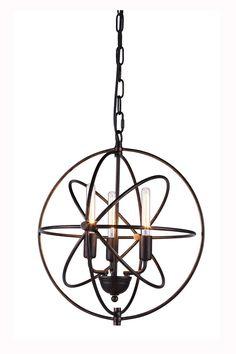 "Vienna Pendant Lamp D:17"" H:19"" Lt:3 Dark Bronze Finish"
