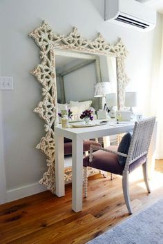 LOVE the large floor mirror behind this! Turn a floor mirror and a desk into a vanity // 7 Ideas to Steal from the Boston Magazine Design Home Sweet Home, My New Room, My Room, Studio Apartment Decorating, Apartment Ideas, Apartment Therapy, Apartment Design, Apartment Living, Decorating Small Apartments