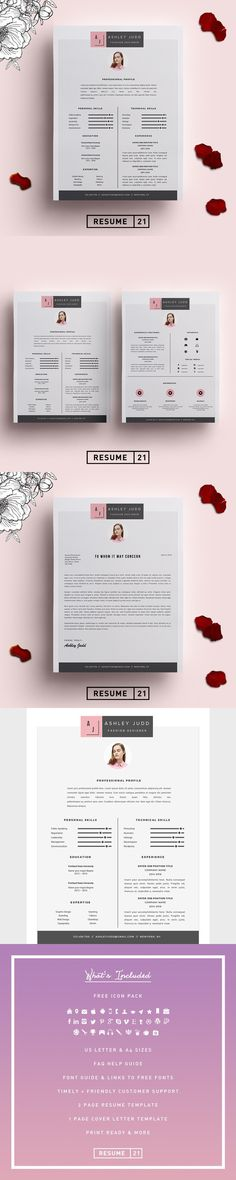 Creative Resume Template Creative Resume by SimpleCleanResume CV - fashion designer resume