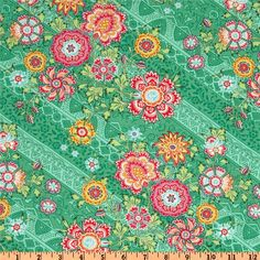 Amy Butler Lark Glamour Heirloom Jade Green from @fabricdotcom  Designed by Amy Butler for Westminster Rowan, this cotton print is perfect for quilting, apparel and home decor accents.