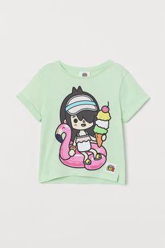 Glitter-print T-shirt - Light green/Toca Boca - Kids | H&M GB