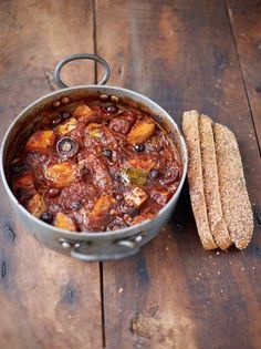 Winner! Sweet Potato & Chicken Cacciatore | Chicken Recipes | Jamie Oliver substituted roasted peppers and sundries tomatoes for the olives.