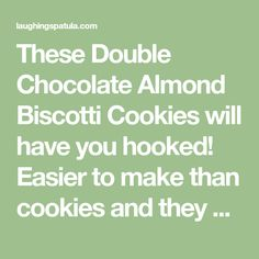 These Double Chocolate Almond Biscotti Cookies will have you hooked! Easier to make than cookies and they make a great gift as well! Chocolate Almond Biscotti Recipe, Biscotti Cookies, Christmas Signs, Pecan, Baking, Gift, Recipes, Food, Bakken