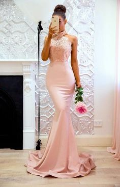 Halter elegant lace mermaid applique sweep train prom dresses B75