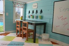 Playhouse interior - love the floor and walls.