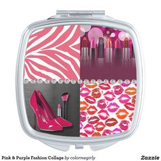 Pink & Purple Fashion Collage Mirror For Makeup - fashion, fashionista, collage, high heel, high heels, pumps, zebra print, animal print, lipstick, lip prints, stiletto, stilettos, shoe, shoes, brush, make up, cosmetic, cosmetics, zebra, heels, diamonds, diamond, bling, blingy, feminine, trendy, chic, style, stylish, luxury, pink
