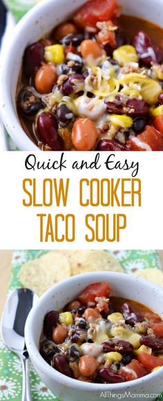If you're looking for an easy, affordable and quick meal on a cold night that packs a big flavor punch – this Slow Cooker Taco Soup Recipe is a winner! #slowcooker #crockpot #soup