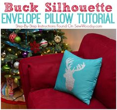 You can make this Buck Silhouette Envelope Pillow in just 30 minutes using the @Cricut®® found on SewWoodsy.com