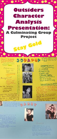 a character analysis of the book report on the outsiders Ponyboy decides to write his english assignment about the recent events, and  begins his essay with the opening line of the novel:.