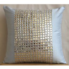 Decorative Throw Pillow Covers Accent Couch Pillow 16 Inch Silk Pillow Crystal Embroidered Sofa Toss Bedroom Sky Pillows Home Decor - Bling