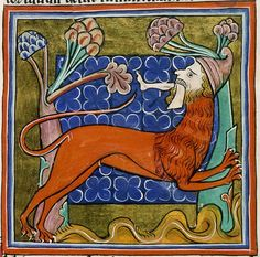Manticore from a medieval manuscript. (Illuminated manuscript close up). Medieval Books, Medieval Life, Medieval Manuscript, Medieval Art, Illuminated Manuscript, Dragons, Illustrations Vintage, Manticore, Ancient Persian