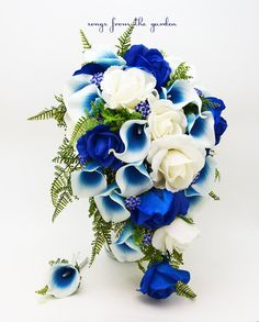 Cascade Bridal Bouquet Blue Picasso Callas Real Touch White